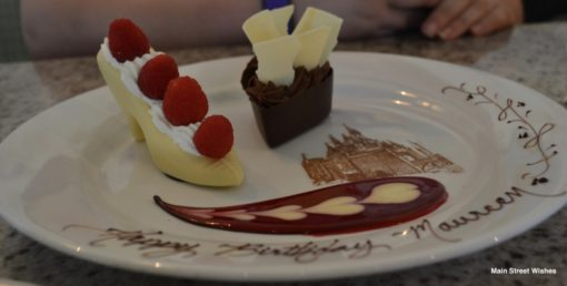 Also Available For Ordering At Select Disney World Restaurants Is The Cinderella Glass Slipper Chocolate Dessert I Ordered This A Friend Celebrating